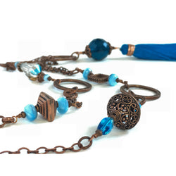 Copper and Turquoise Chain & Silk Tassel Necklace-Copper-Snowbird Studio-Snowbird Studio