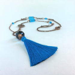Copper and Turquoise Silk Tassel Necklace and Earrings - Snowbird Studio