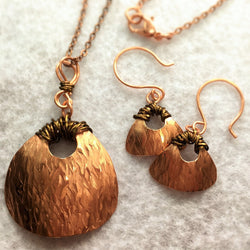 Copper & Bronze Wire-Wrapped Necklace and Earring Set-Copper & Bronze-Snowbird Studio-Snowbird Studio