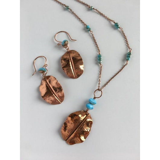 Copper Leaf Fold-Formed Turquoise Necklace and Earring Set-Copper-Snowbird Studio-Snowbird Studio