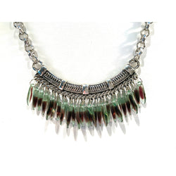 Czech Glass Fringe Necklace and Earrings in Purple and Green - Snowbird Studio