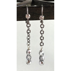 Earrings - Chain and Glass Beads-Silver-plated-Snowbird Studio-Snowbird Studio