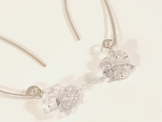 Earrings - Herkimer Diamond and Sterling Silver Earrings - Snowbird Studio