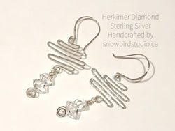 Earrings - Herkimer Diamond and Sterling Silver Squiggle Earrings - Snowbird Studio