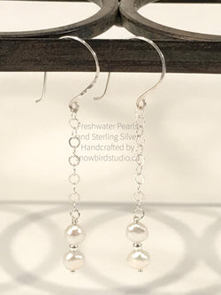 Earrings - Pearl and Sterling Silver Chain Earrings-Sterling Silver-Snowbird Studio-Snowbird Studio
