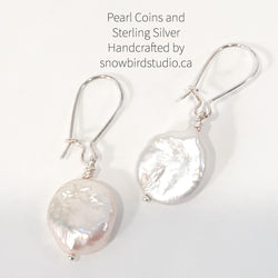 Earrings - Pearl Coin and Sterling Silver Earrings - Snowbird Studio