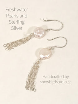 Earrings - Pearl Coins and Sterling Silver Tassel Earrings - Snowbird Studio