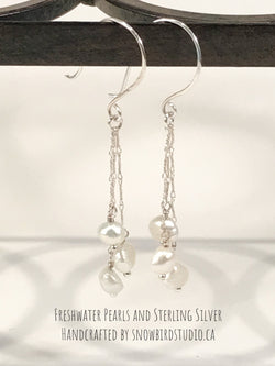 Earrings - Pearls and Sterling Silver Chain Tassel Earrings-Sterling Silver-Snowbird Studio-Snowbird Studio