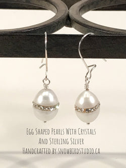 Earrings - Pearls With Crystal Band and Sterling Silver-Sterling Silver-Snowbird Studio-Snowbird Studio