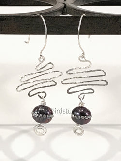 Earrings - Purple Pearl Sterling Silver Squiggle Earrings - Snowbird Studio