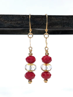 Earrings - Red And Amber Glass Gold-Filled Earrings - Snowbird Studio