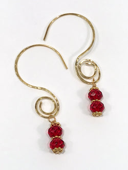 Earrings - Red Glass And Brass Swirl Earrings - Snowbird Studio