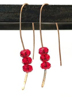 Earrings - Red Glass And Bronze Swoop Earrings - Snowbird Studio