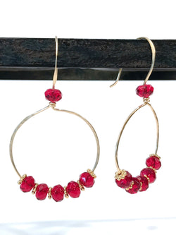 Earrings - Red Glass Brass Hoop Earrings - Snowbird Studio