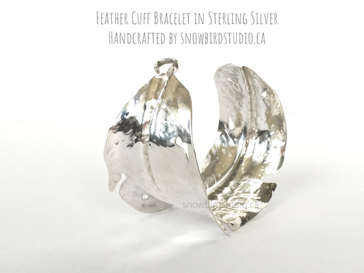 Feather Cuff Bracelet In Fine Silver - Snowbird Studio