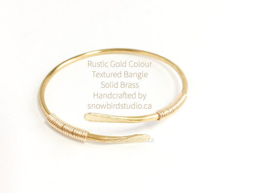 Gold Brass Double Wrapped Crossover Bangle Bracelet - Snowbird Studio
