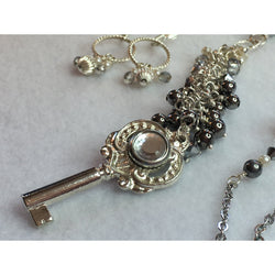 Key Necklace in Silver and Grey - Necklace and Earring Set-Silver-plated-Snowbird Studio-Snowbird Studio