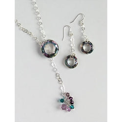 Lariat Necklace and Earring Set in Sterling Silver & Swarovski Crystal-Sterling Silver-Snowbird Studio-Snowbird Studio