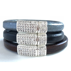 Leather Bracelet with Magnetic Crystal Clasp - Snowbird Studio