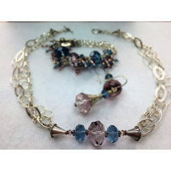 Multi Chain Sterling Silver and Swarovski Crystal Necklace, Fringe Bracelet and Earring Set - Snowbird Studio