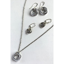 Orbital Necklace and 2 Sets of Earrings-Silver-plated-Snowbird Studio-Snowbird Studio