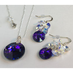 Purple Sun Swarovski Necklace and Earrings in Sterling Silver - Snowbird Studio