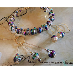 Rainbow Glass Bead Necklace, Bracelet, and Earring Set in Gold-Glass & Gold-Plate-Snowbird Studio-Snowbird Studio