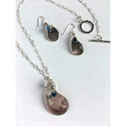 Raindrop Necklace and Earring Set in Sterling Silver and  Swarovski Crystal - Snowbird Studio