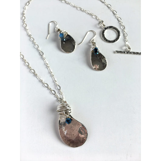 Raindrop Necklace and Earring Set in Sterling Silver and Swarovski Crystal-Sterling & Swarovski-Snowbird Studio-Snowbird Studio