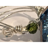 Sterling Silver Ring featuring a Swarovski Square Crystal in Blue and Olivine - Snowbird Studio