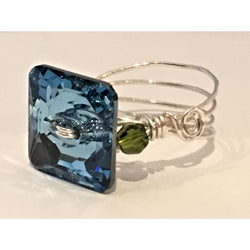 Sterling Silver Ring featuring a Swarovski Square Crystal in Blue and Olivine-Sterling & Swarovski-Snowbird Studio-Snowbird Studio