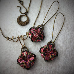 Swarovski Vintage Necklace and Earrings in Pink-Swarovski-Snowbird Studio-Rose Pink-Snowbird Studio