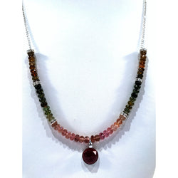 Tourmaline Gemstone Necklace in Sterling Silver - Snowbird Studio