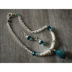 Turquoise Agate Viking Knit Necklace and Earring Set-Silver-plated-Snowbird Studio-Snowbird Studio