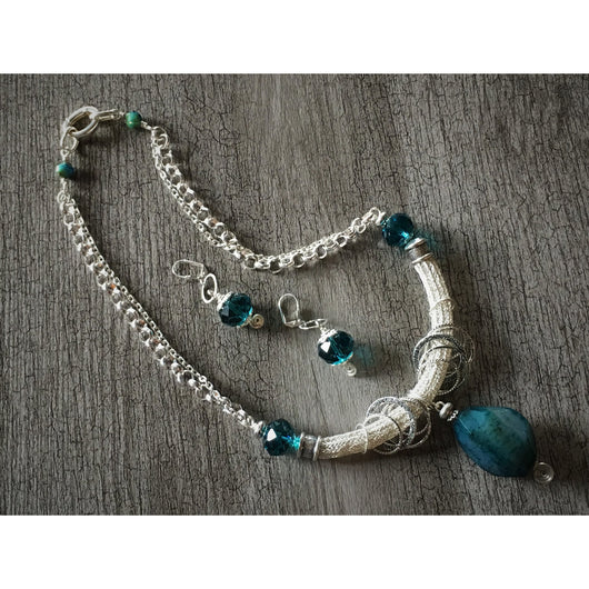 Turquoise Agate Viking Knit Necklace and Earring Set - Snowbird Studio