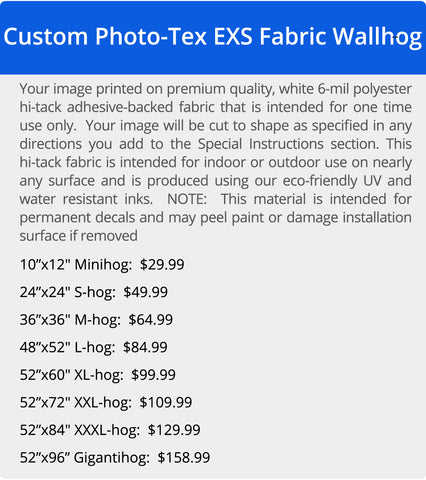 Wallhogs Photo-Tex Polyester Hi-Tack Fabric Pricing