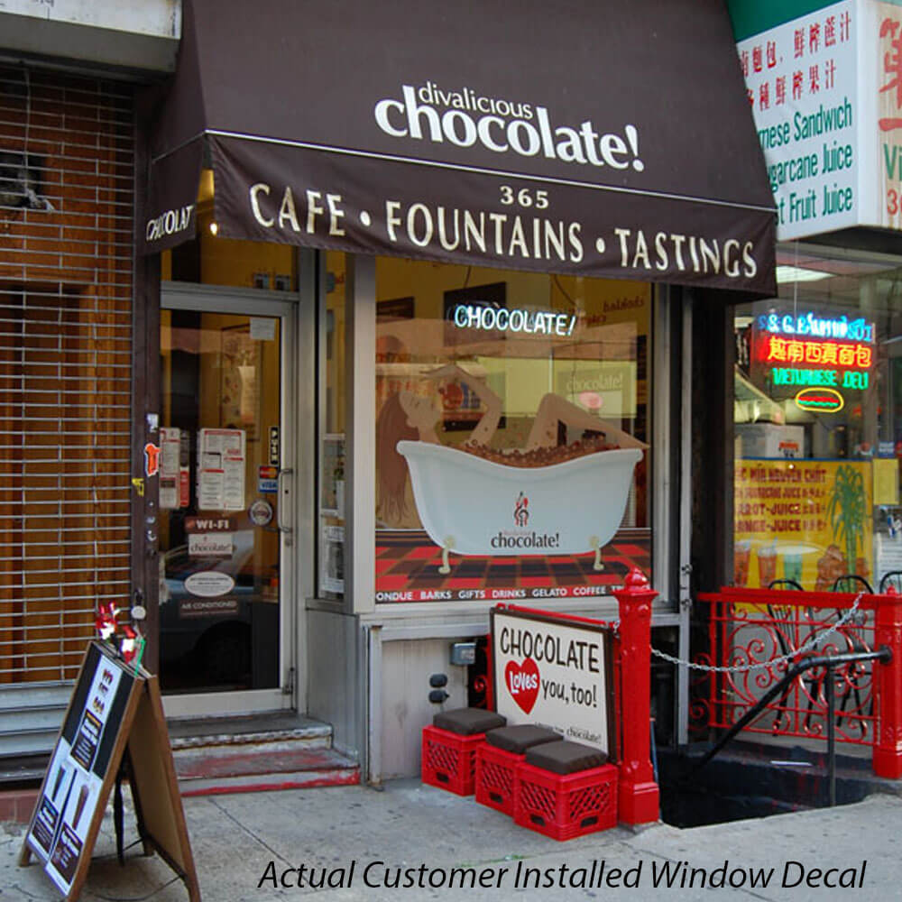 Actual Customer Installed Window Decal at Chocolate Store
