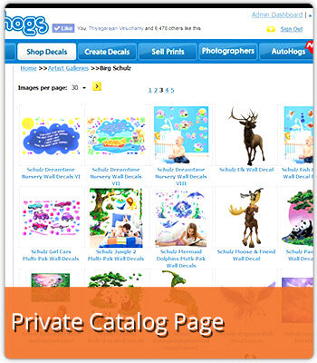 Wallhogs Private Catalog Page for Ordering