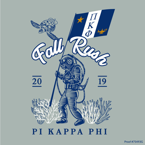 Pi Kapp Sea Diver with Flag Art