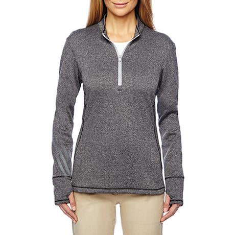 adidas Golf Ladies' Heather 3-Stripes Quarter-Zip Layering