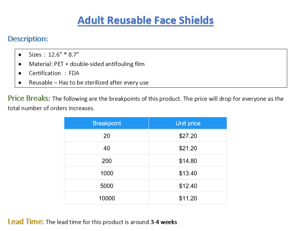 Adult Face Shields - Pack of 10 (Listing ID: 4680439038021)