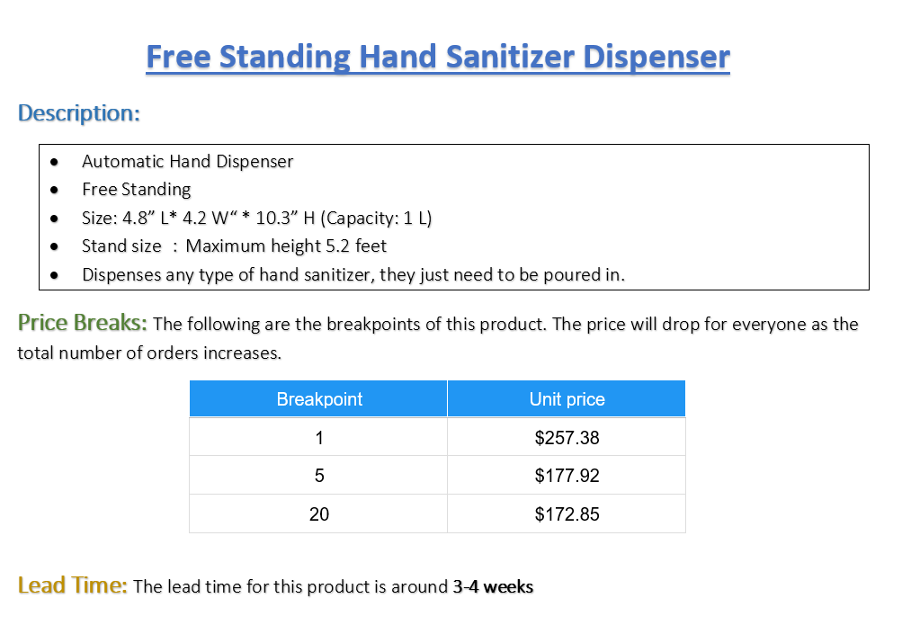 Free Standing Hand Sanitizer Dispenser - Pack of 1 (Listing ID: 4653889224773)