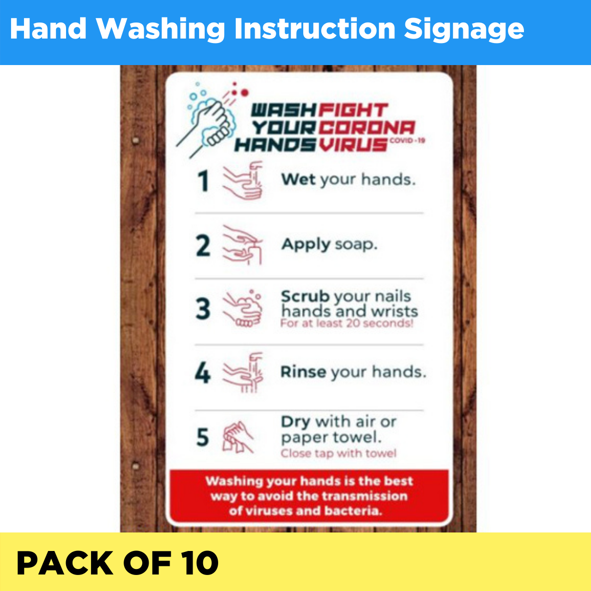 Hand washing instructions signage - Pack of 10 (Listing ID: 4653888274501)