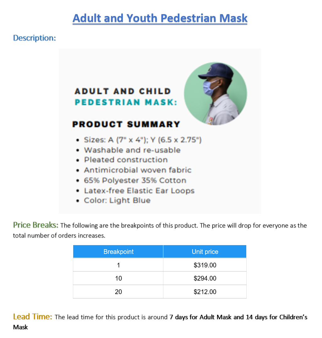 MWBE - Adult Pedestrian Mask - Pack of 100 (Listing ID: 4653913079877)