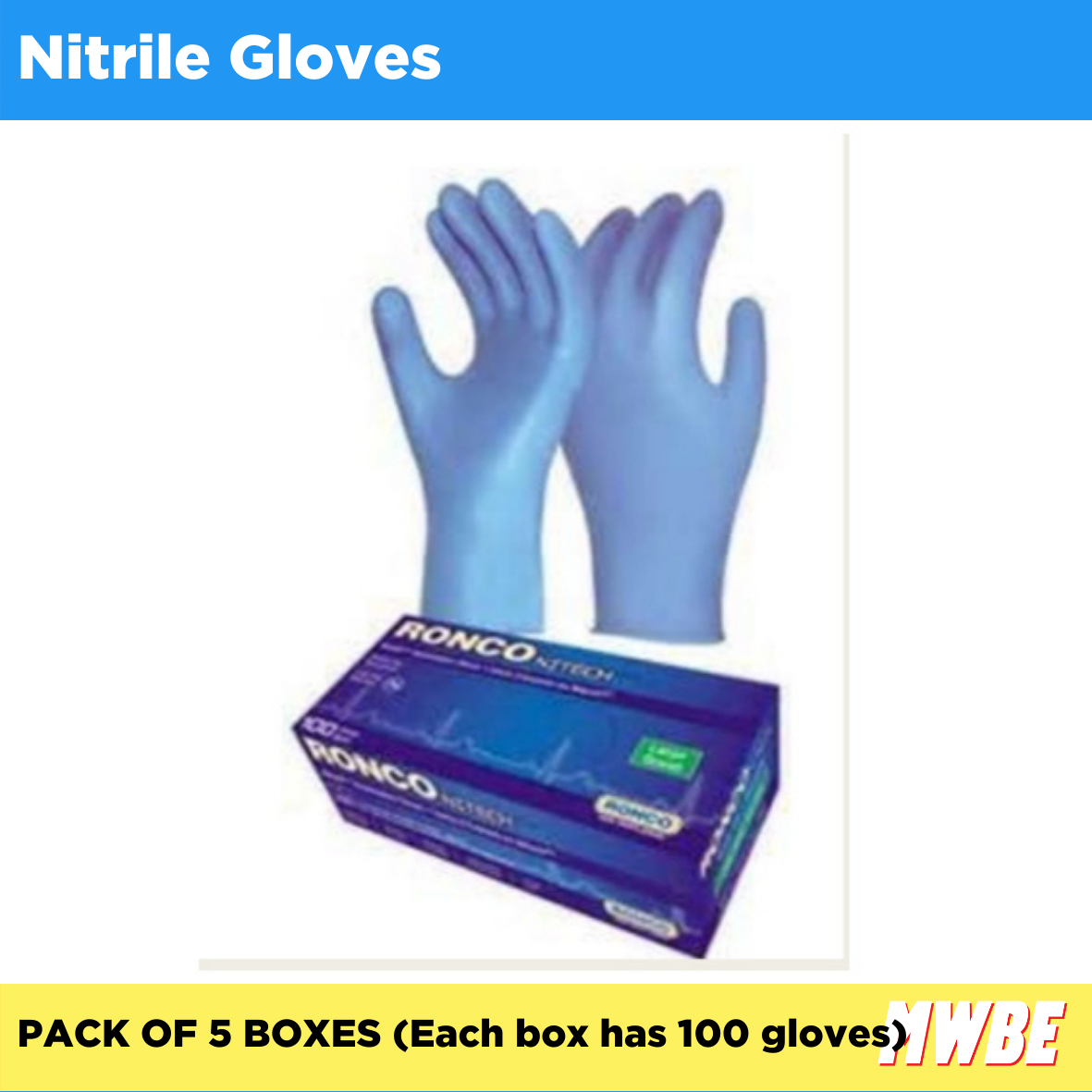 MWBE - Nitrile Gloves - Pack of 5 (Listing ID: 4653902921797)