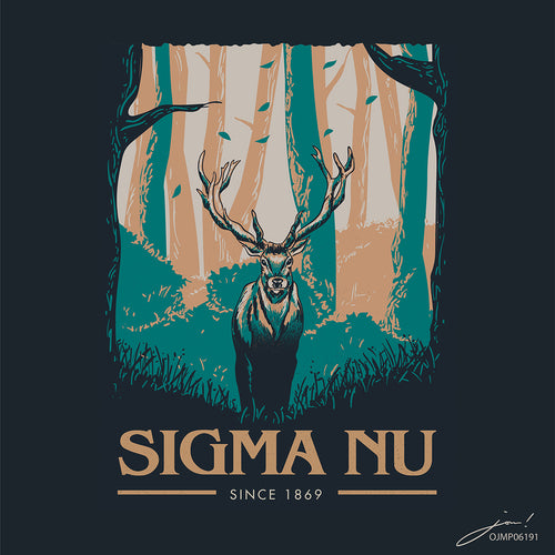 Sigma Nu Deer in the Forest Art