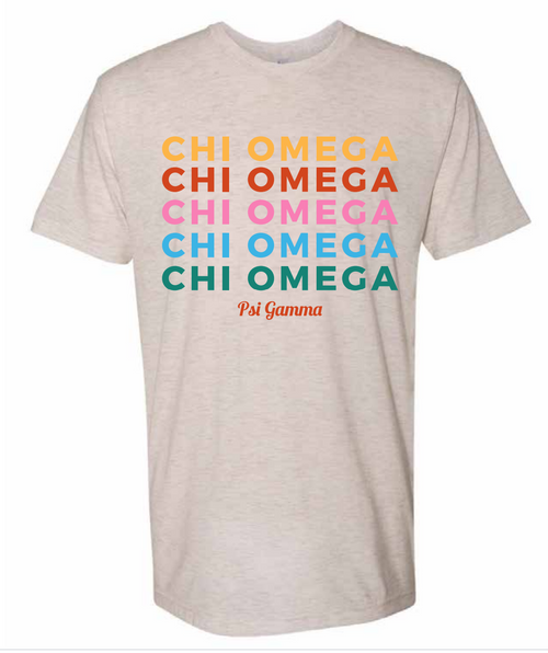 Colorful Chi Omega Shirt(Listing ID : 4621126467653)