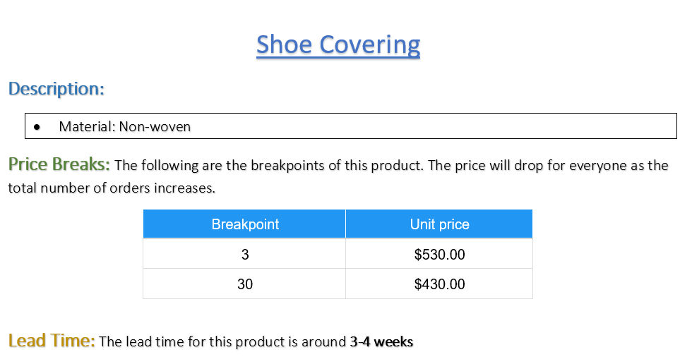 Shoe Covering - Pack of 1000 covers (Listing ID: 4653889585221)