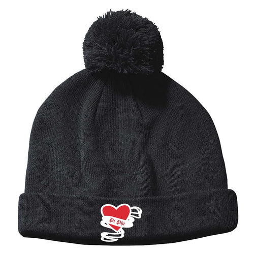 Pi Phi Embroidered Pom Beanie