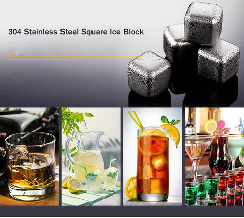 Stainless Steel Ice Cube Whisky Stones Set of 4